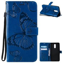 Embossing 3D Butterfly Leather Wallet Case for LG Stylo 4 - Blue