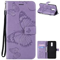 Embossing 3D Butterfly Leather Wallet Case for LG Stylo 4 - Purple