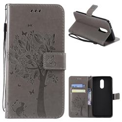 Embossing Butterfly Tree Leather Wallet Case for LG Stylo 4 - Grey