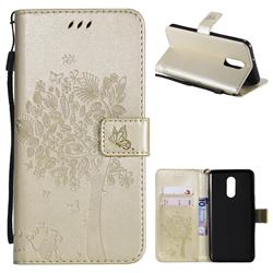 Embossing Butterfly Tree Leather Wallet Case for LG Stylo 4 - Champagne