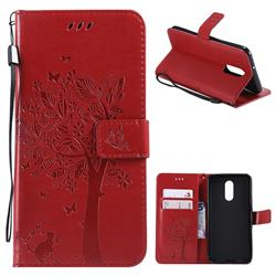 Embossing Butterfly Tree Leather Wallet Case for LG Stylo 4 - Red