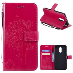 Embossing Butterfly Tree Leather Wallet Case for LG Stylo 4 - Rose