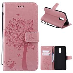 Embossing Butterfly Tree Leather Wallet Case for LG Stylo 4 - Pink