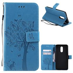 Embossing Butterfly Tree Leather Wallet Case for LG Stylo 4 - Blue