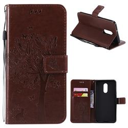 Embossing Butterfly Tree Leather Wallet Case for LG Stylo 4 - Coffee