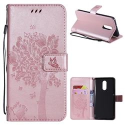 Embossing Butterfly Tree Leather Wallet Case for LG Stylo 4 - Rose Pink
