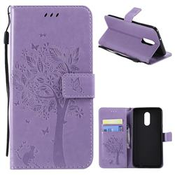 Embossing Butterfly Tree Leather Wallet Case for LG Stylo 4 - Violet