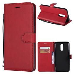 Retro Greek Classic Smooth PU Leather Wallet Phone Case for LG Stylo 4 - Red