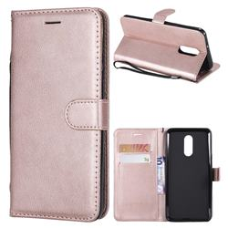 Retro Greek Classic Smooth PU Leather Wallet Phone Case for LG Stylo 4 - Rose Gold