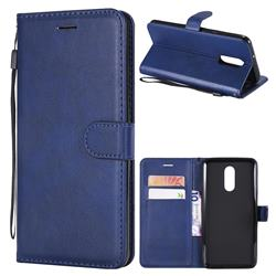Retro Greek Classic Smooth PU Leather Wallet Phone Case for LG Stylo 4 - Blue