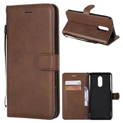 Retro Greek Classic Smooth PU Leather Wallet Phone Case for LG Stylo 4 - Brown