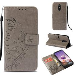 Embossing Butterfly Flower Leather Wallet Case for LG Stylo 4 - Grey
