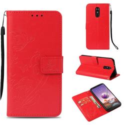 Embossing Butterfly Flower Leather Wallet Case for LG Stylo 4 - Red