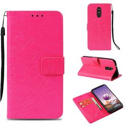 Embossing Butterfly Flower Leather Wallet Case for LG Stylo 4 - Rose