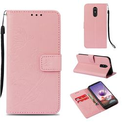 Embossing Butterfly Flower Leather Wallet Case for LG Stylo 4 - Pink