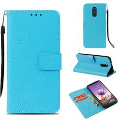 Embossing Butterfly Flower Leather Wallet Case for LG Stylo 4 - Blue