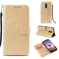Embossing Butterfly Flower Leather Wallet Case for LG Stylo 4 - Champagne