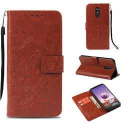 Embossing Butterfly Flower Leather Wallet Case for LG Stylo 4 - Brown