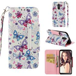 Colored Butterfly Big Metal Buckle PU Leather Wallet Phone Case for LG Stylo 4