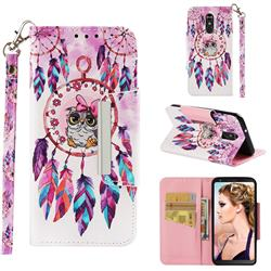 Owl Wind Chimes Big Metal Buckle PU Leather Wallet Phone Case for LG Stylo 4