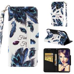 Peacock Feather Big Metal Buckle PU Leather Wallet Phone Case for LG Stylo 4