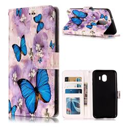 Purple Flowers Butterfly 3D Relief Oil PU Leather Wallet Case for LG Stylo 4