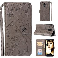 Embossing Fireworks Elephant Leather Wallet Case for LG Stylo 4 - Gray