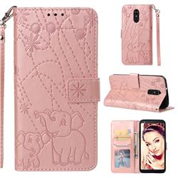 Embossing Fireworks Elephant Leather Wallet Case for LG Stylo 4 - Rose Gold