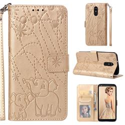 Embossing Fireworks Elephant Leather Wallet Case for LG Stylo 4 - Golden