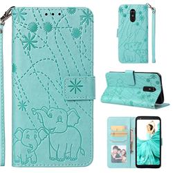 Embossing Fireworks Elephant Leather Wallet Case for LG Stylo 4 - Green