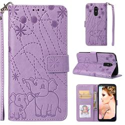 Embossing Fireworks Elephant Leather Wallet Case for LG Stylo 4 - Purple