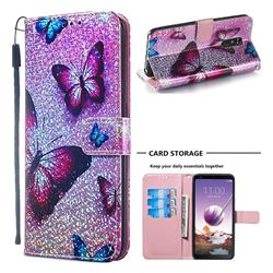 Blue Butterfly Sequins Painted Leather Wallet Case for LG Stylo 4