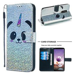 Panda Unicorn Sequins Painted Leather Wallet Case for LG Stylo 4