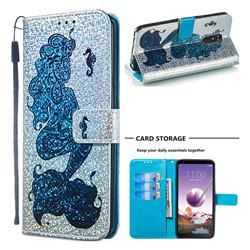Mermaid Seahorse Sequins Painted Leather Wallet Case for LG Stylo 4
