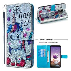 Star Unicorn Sequins Painted Leather Wallet Case for LG Stylo 4