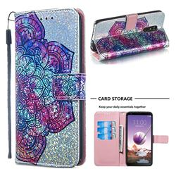 Glutinous Flower Sequins Painted Leather Wallet Case for LG Stylo 4