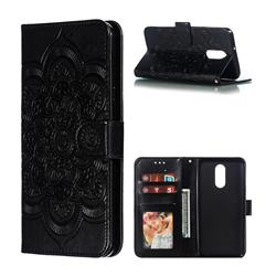 Intricate Embossing Datura Solar Leather Wallet Case for LG Stylo 4 - Black