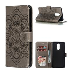 Intricate Embossing Datura Solar Leather Wallet Case for LG Stylo 4 - Gray