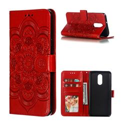 Intricate Embossing Datura Solar Leather Wallet Case for LG Stylo 4 - Red