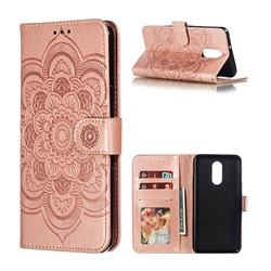 Intricate Embossing Datura Solar Leather Wallet Case for LG Stylo 4 - Rose Gold