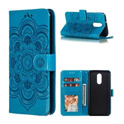Intricate Embossing Datura Solar Leather Wallet Case for LG Stylo 4 - Blue
