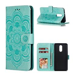 Intricate Embossing Datura Solar Leather Wallet Case for LG Stylo 4 - Green