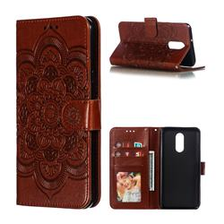 Intricate Embossing Datura Solar Leather Wallet Case for LG Stylo 4 - Brown