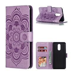 Intricate Embossing Datura Solar Leather Wallet Case for LG Stylo 4 - Purple