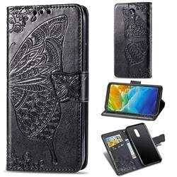 Embossing Mandala Flower Butterfly Leather Wallet Case for LG Stylo 4 - Black
