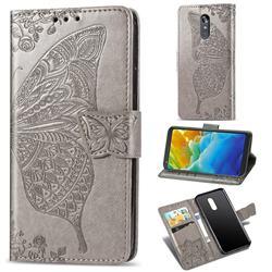 Embossing Mandala Flower Butterfly Leather Wallet Case for LG Stylo 4 - Gray