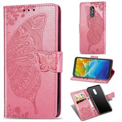 Embossing Mandala Flower Butterfly Leather Wallet Case for LG Stylo 4 - Pink