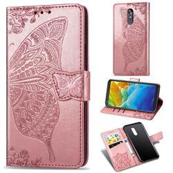 Embossing Mandala Flower Butterfly Leather Wallet Case for LG Stylo 4 - Rose Gold