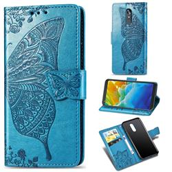 Embossing Mandala Flower Butterfly Leather Wallet Case for LG Stylo 4 - Blue