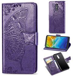 Embossing Mandala Flower Butterfly Leather Wallet Case for LG Stylo 4 - Dark Purple